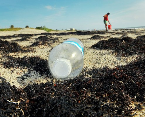 An empty plastic water bottle on the beach.