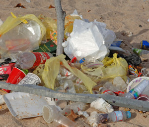A pile of trash on the beach