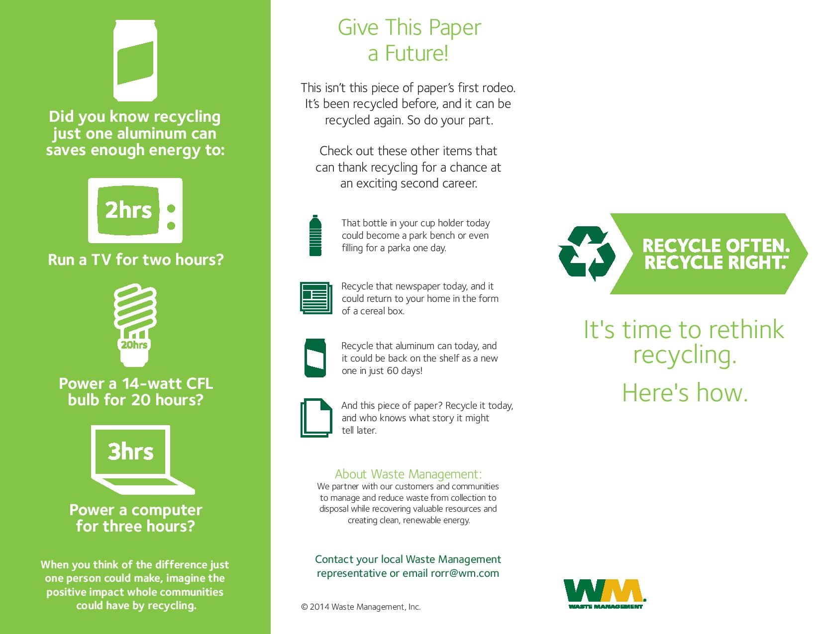 Single Stream Recycling Info from Waste Management - Keep